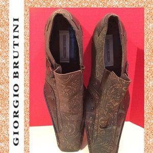 Giorgio Brutini SZ  11 leather loafer slip-on gold